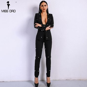 Missord 2018 Sexy  Long Sleeve Button Two Pcs  Sets Beads Solid Color Elegant  Jumpsuit  FT8720