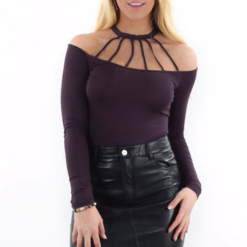 Feeling Alive Plum Long Sleeve Mock Neck Top