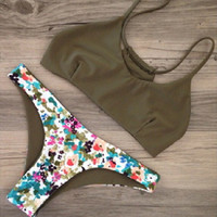 Summer Sexy New Arrival Beach Hot Swimsuit Stylish Swimwear Ladies Spaghetti Strap Print Green Bikini [6533315527]