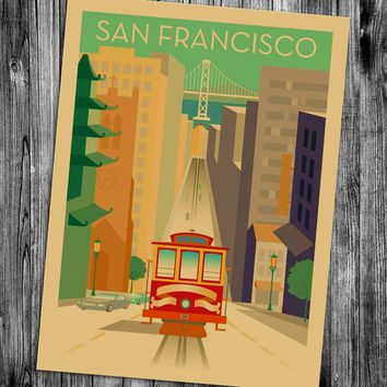 San Francisco California Bridge Poster retro kraft paper poster cafe bar pub decorative painting retro poster for living room