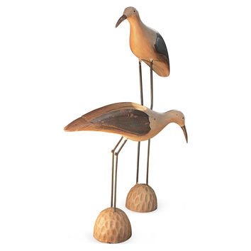 "21"" Mango Wood Carved Shore Bird, Figurines & Animal Figures"