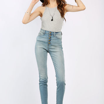 5-Buttoned High Waisted Jeans