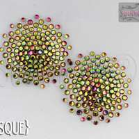 Floating Nearly Nude Sunburst Rhinestone Nipple Pasties - SugarKitty Couture