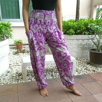 Yoga Pants Purple Elephant Harem Boho Printed Unisex Casual Elastic Fisherman Hippie Massage Rayon pants Thai Handmade Thailand Men Women
