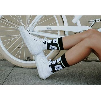 Mix Tape Crew Socks in Black