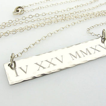 Personalized Date Pendant  / Roman Numeral Sterling Silver Necklace / Gift for her