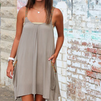 Shake It Off Beaded Fringe Dress {Mocha}