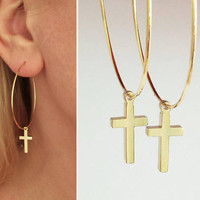 Gold Cross Hoops, Cross Charm Earrings, Minimalistic Jewelry, Everyday Earrings, kreuz ohrringe, Rock Style, Earrings with Cross / E534