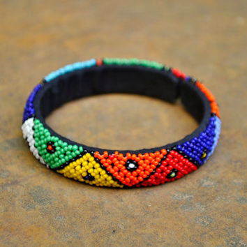 African beaded cuff bracelet (beaded, traditional pattern)