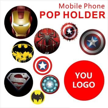 Super Hero Theme Pop Phone Socket Holder Lovely Desgin with Reusable Silicone Glue Hot Sale Portable Phone Holder