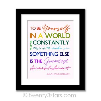 Be Yourself Wall Art - Ralph Waldo Emerson Quote Wall Art - Choose Any Colors - twenty3stars