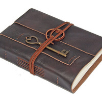 Brown Leather Journal with Heart Key Bookmark