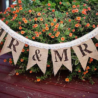 Burlap Wedding Banner - Burlap and Lace - Mr & Mrs Banner - Wedding Banners - Rustic - Shabby Chic