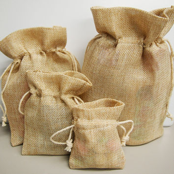 Faux Burlap Pouch Bags, 6-inch x 9-inch, 6-pack