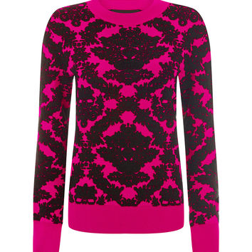 Brocade Knit Sweatshirt Pink
