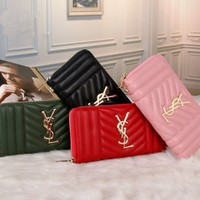 """Yves Saint Laurent YSL"" Fashion Casual Women Purse Zip Long Section Multifunction Wallet Handbag"