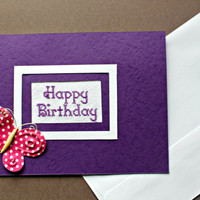 Purple Happy Birthday Card, Completed Cross Stitch Card with Pink Butterfly