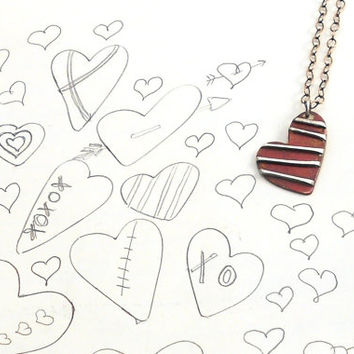 Striped Copper and Silver Doodle Heart Necklace with Bronze Chain and Handmade Copper Clasp