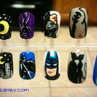 Batman & Catwoman Nail Art