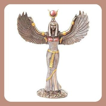 """Isis"" Egyptian Goddess Open Wings Statue"