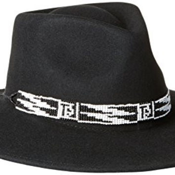 'ale by alessandra Women's Santa Fe Adjustable Felt Hat with Beading Trim, Black, One Size