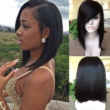 Grade Brazilian Human Hair Full Lace Bob Wig With Side Bangs Silky Straight (Color: Black) (Color: Black)