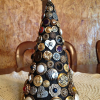 Vintage Button Tree Table Decor