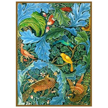 William Morris Vibrant Acanthus and Birds Design Counted Cross Stitch or Counted Needlepoint Pattern