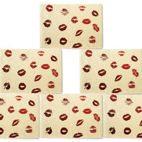 Lipstick Stain Printed Canvas Placemats Set of 6