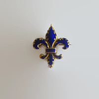 Victorian Pendant Pin, Victorian Fleur de Lis, Antique, Cobalt Blue Enamel & Gold Tone Metal, Beautiful!