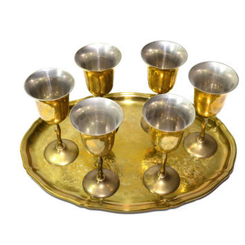 Brass Wedding Goblets Brass Goblets with Tray Wedding Wine Goblets Brass Wedding Decor
