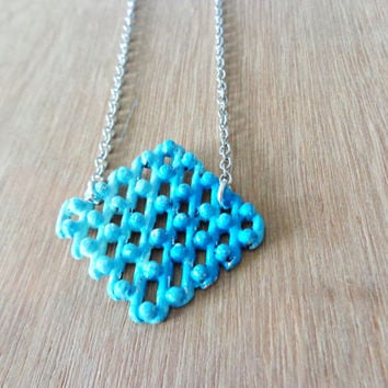 Turquoise ombre metal mesh geometric necklace long