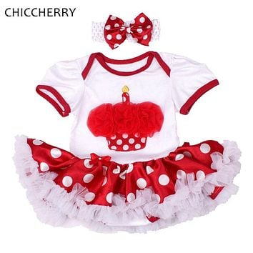 Cupcake 1 Year Girl Birthday Baby Dress Hairband Set Vestido De Bebe Party Dresses For Girls Polka Dots Clothes for Newborn