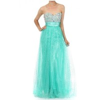 Azaria Formals 6104 Prom Dress in Mint Color