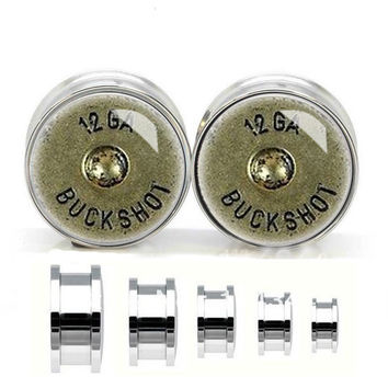 Silver Bullet Plugs,12mm ear tunnel,Stainless steel  ear plugs,tapers and plugs,gauged earrings for sale,unique plugs and tunnels
