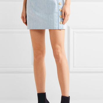 Balmain - Button-detailed denim mini skirt