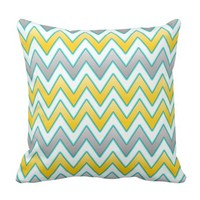 Trendy Gold and silver chevrons pattern Throw Pillow