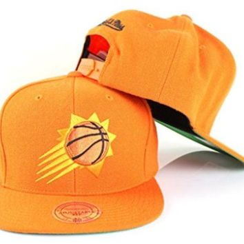 ONETOW Phoenix Suns NBA Mitchell & Ness Team Logo Solid Wool Adjustable Snapback Hat