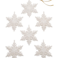 Holiday Lane Set of 6 White Snowflake Ornaments, Created for Macy's | macys.com