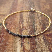 Black Diamonds in the Rough Diamond Bracelet with 24K Yellow Gold Vermeil Beads