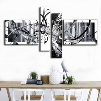 100%Hand-painted Modern Art Wall Black And White Abstract oil Painting on Canvas Home Decoration 4 pcs/set
