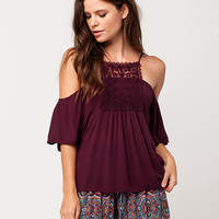 PATRONS OF PEACE Lace Cold Shoulder Womens Top | Blouses