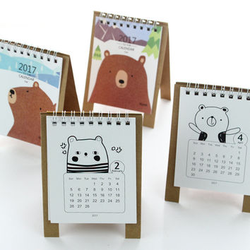 2017 Year Kawaii Cartoon Bear Calendar 12.5*9.5cm Creative Desk Standing Paper Calendars Organizer Schedule Planner Book New