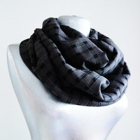 Handmade Tartan Infinity Scarf - Wool - Brown Black - Winter Autumn Scarf - Men Unisex Scarf