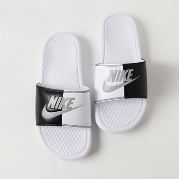 "Nike Benassi Slide JDI Print ""White Black"" Beach Slipper Sandals 343880-104"