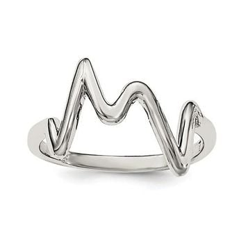 925 Sterling Silver ZigZag Heartbeat Ring