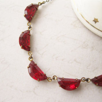 Ruby Red Necklace, Vintage Glass Rhinestones, Old Hollywood Glam, Dainty Necklace, Valentine Jewelry, Christmas Jewellery