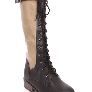 Black Two Tone Lace Up Boots Faux Leather