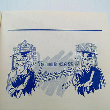 Graduation Memento Book High School Senior Class Memories Booklet with Mid Century Graphics - Old School Souvenir Paper Ephemera & Art Book
