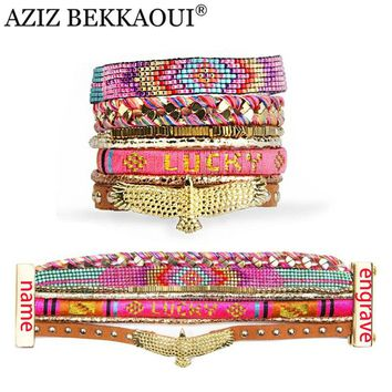 Bohemian Leather Wide Bracelets & Bangles with Golden Eagle Charms Multicolor Beads Magnetic Clasp Engraved Name logo pulseras